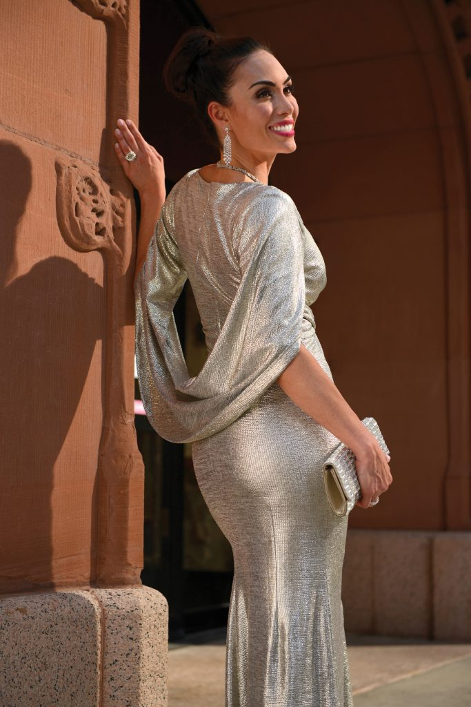 Betsy and Adam metallic cape gown