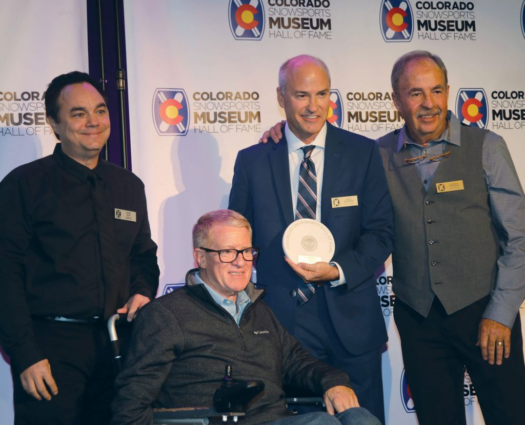 Steve Raymond with his hall of fame award.