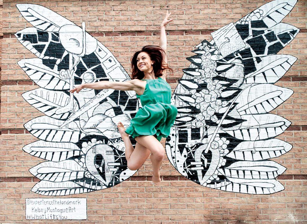 The Landmark butterfly wings mural