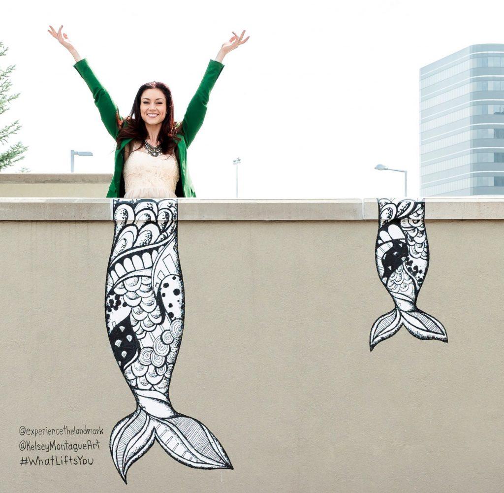 The Landmark mermaid tails mural