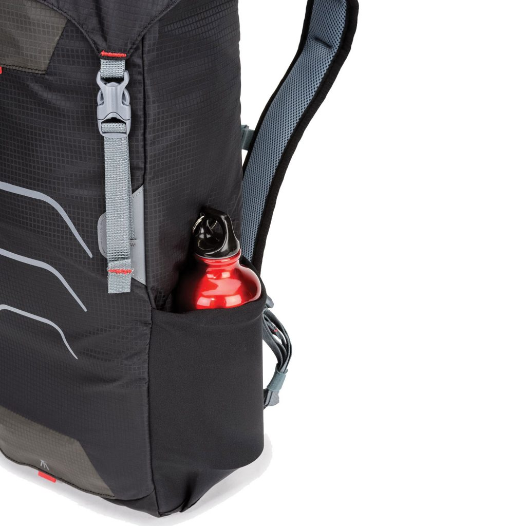 The backpack fabric is finished with a water-repellant coating.