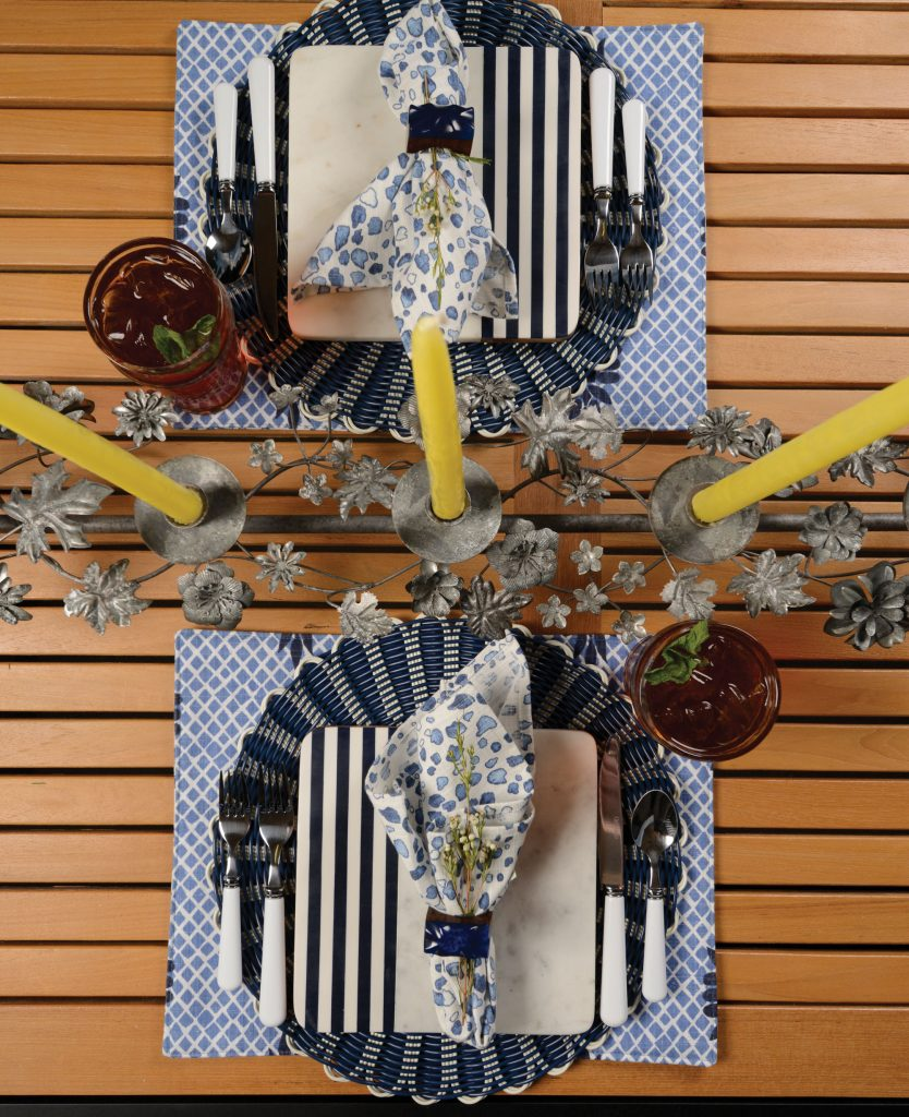 Backyard party table setting