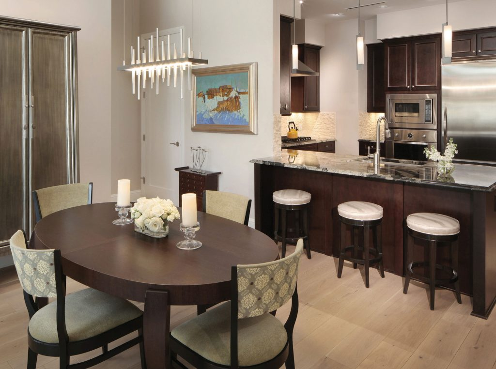 The Landmark penthouse kitchen and dining room