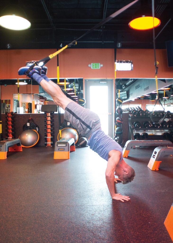 Tim Johnson doing a handstand