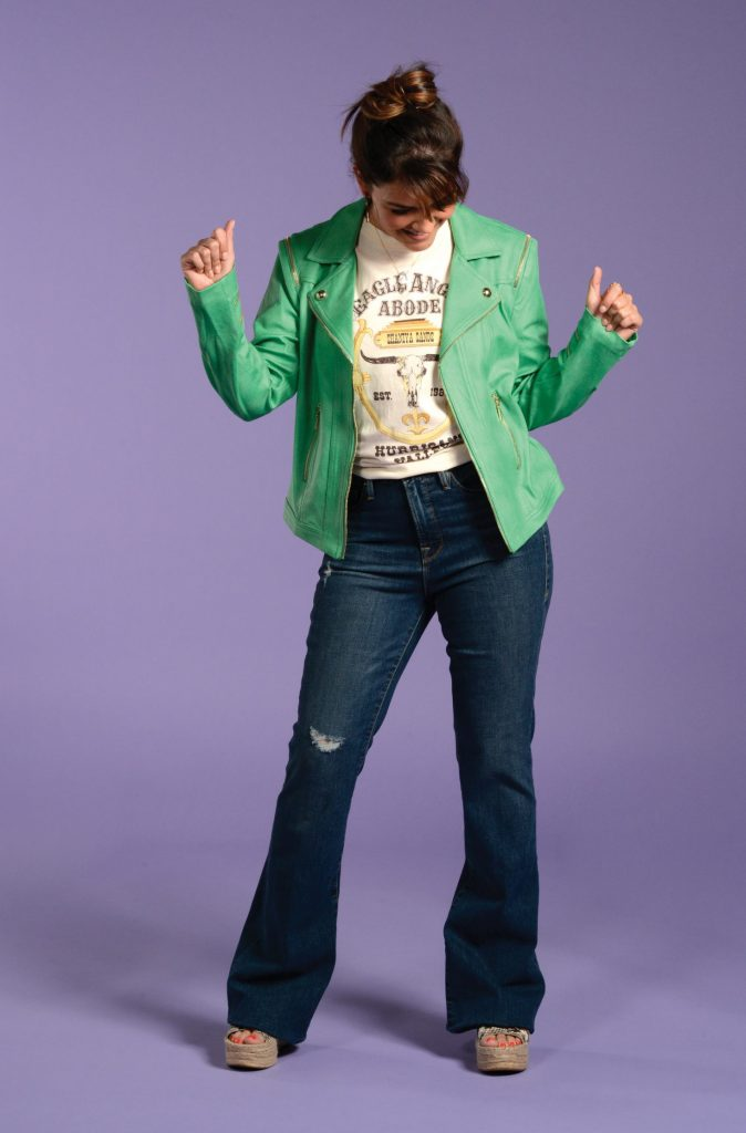 Spring green jacket and jeans look
