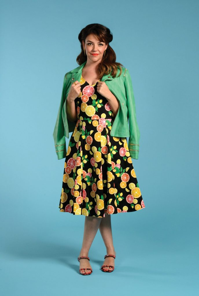 Spring green jacket and dress look
