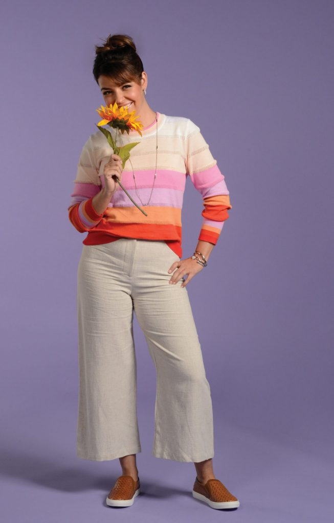 Linen pants and sweater look