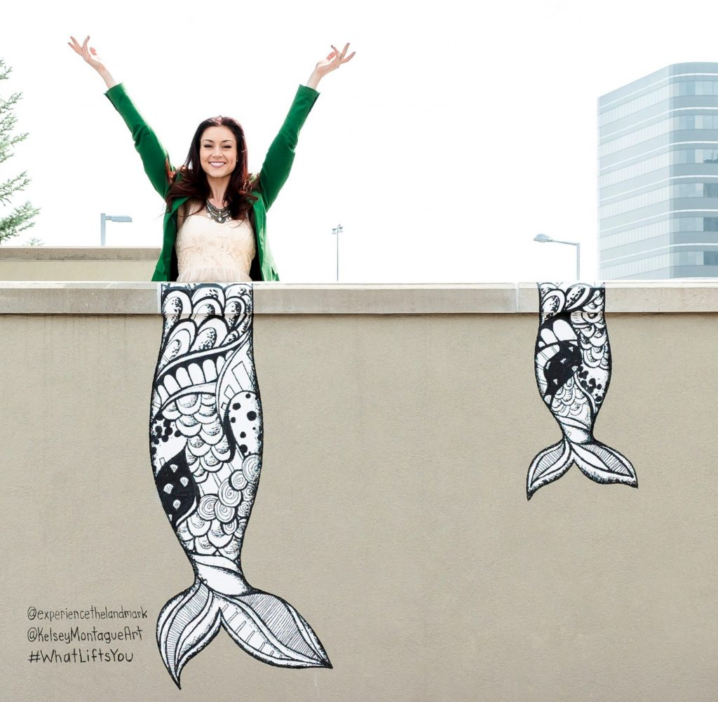 The Landmark mermaid tails mural