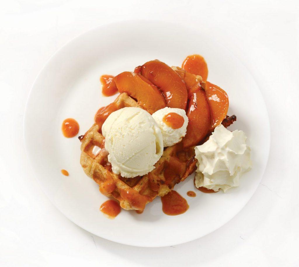 Roasted Peaches Belgian Waffle
